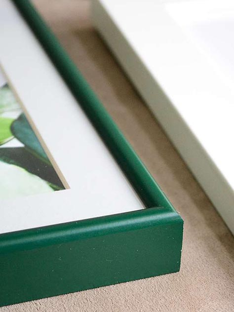 green metal frame close up
