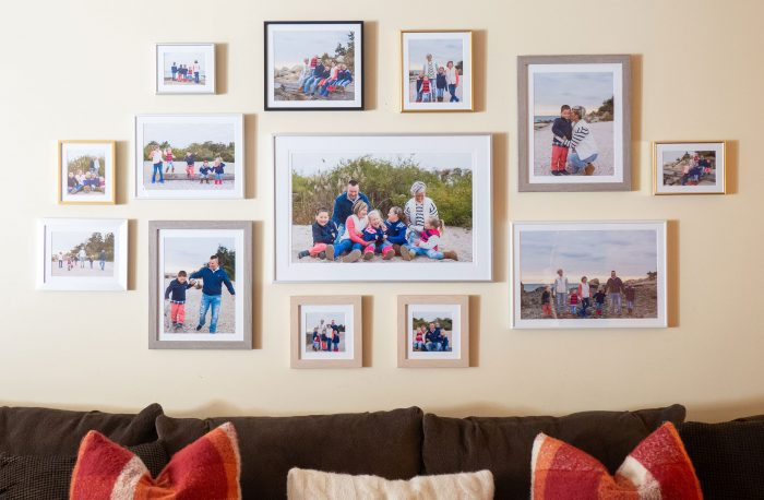 Create a wall collage of picture frames