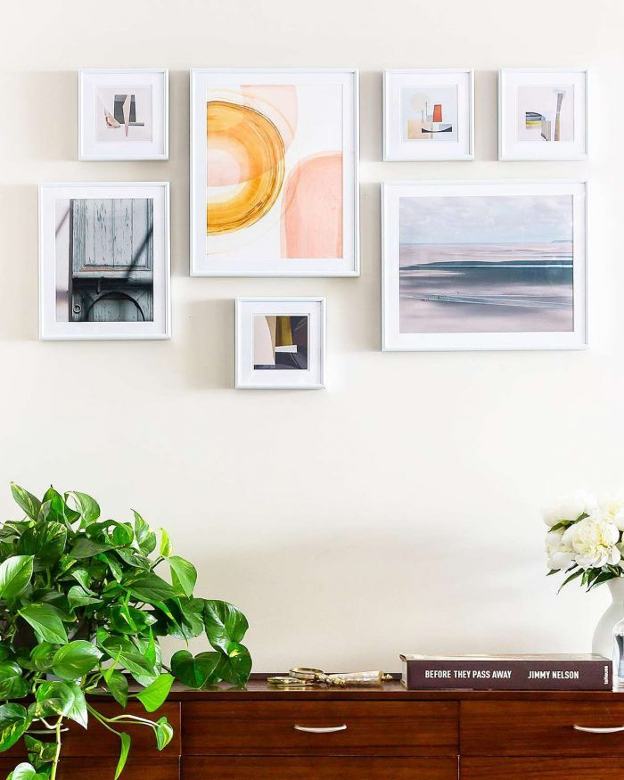 Gallery wall of custom picture frames