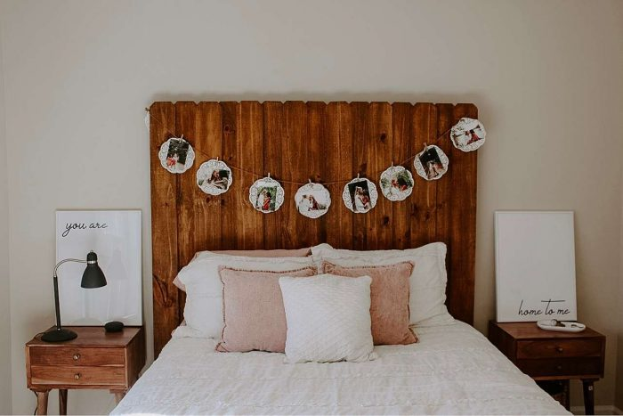Picture frames as bedroom decor