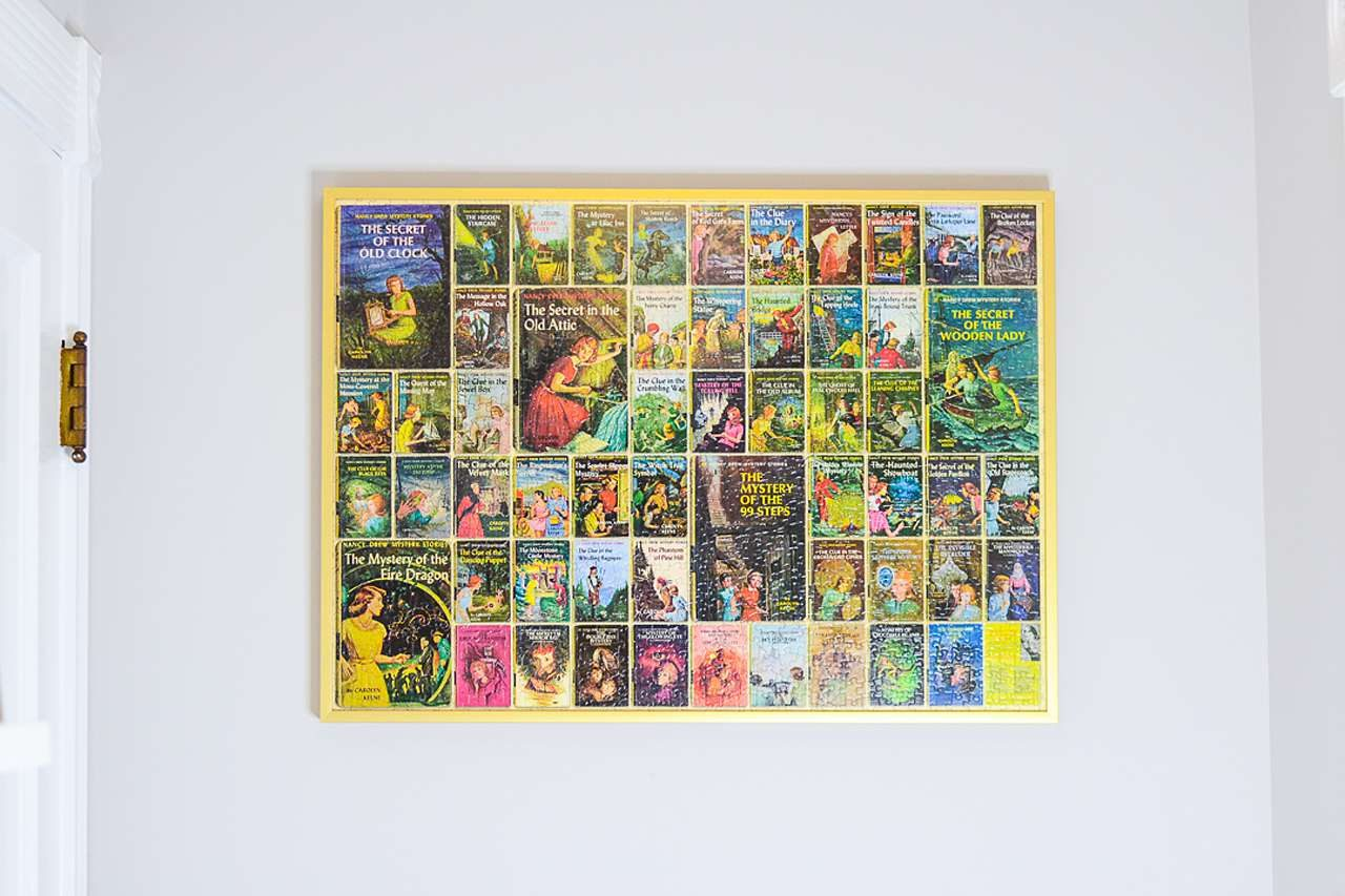 Gold puzzle frame - Nancy Drew book covers