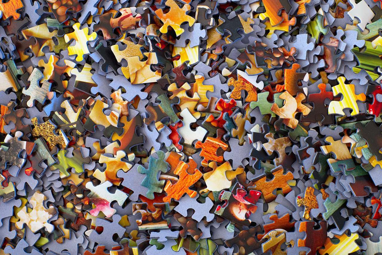 Assortment of puzzle pieces