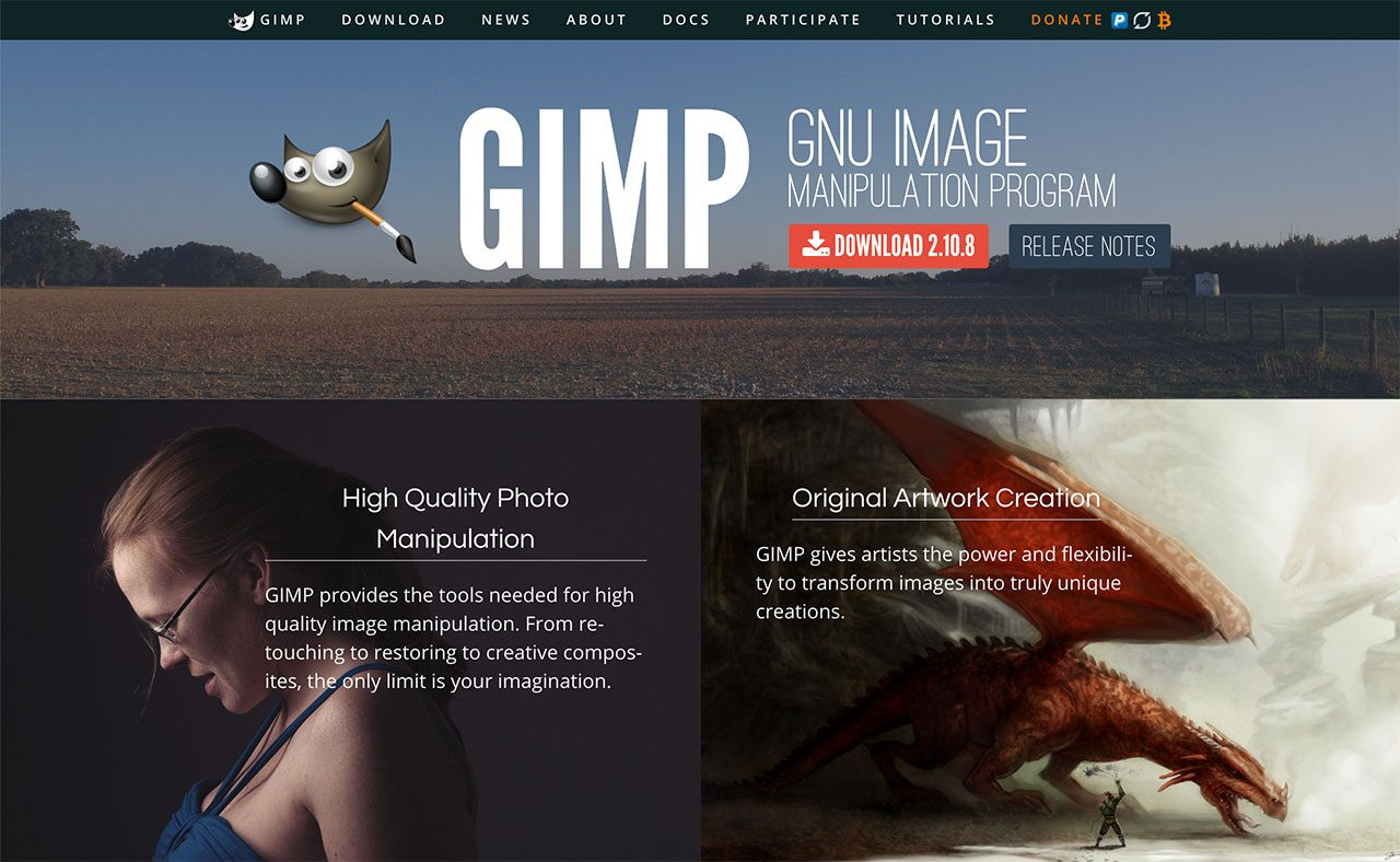 Gimp GNU Image Manipulation Program website homepage