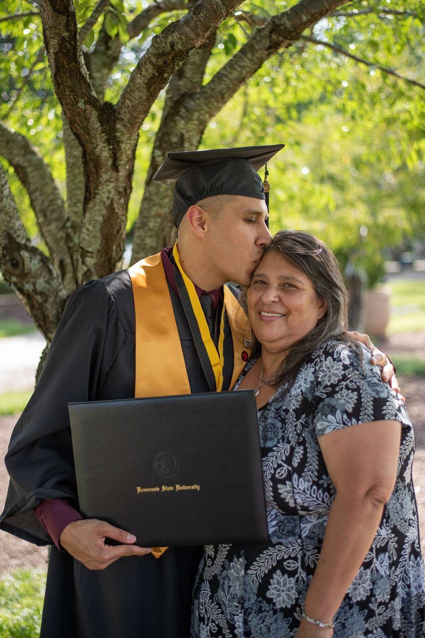 Graduation photo with mother