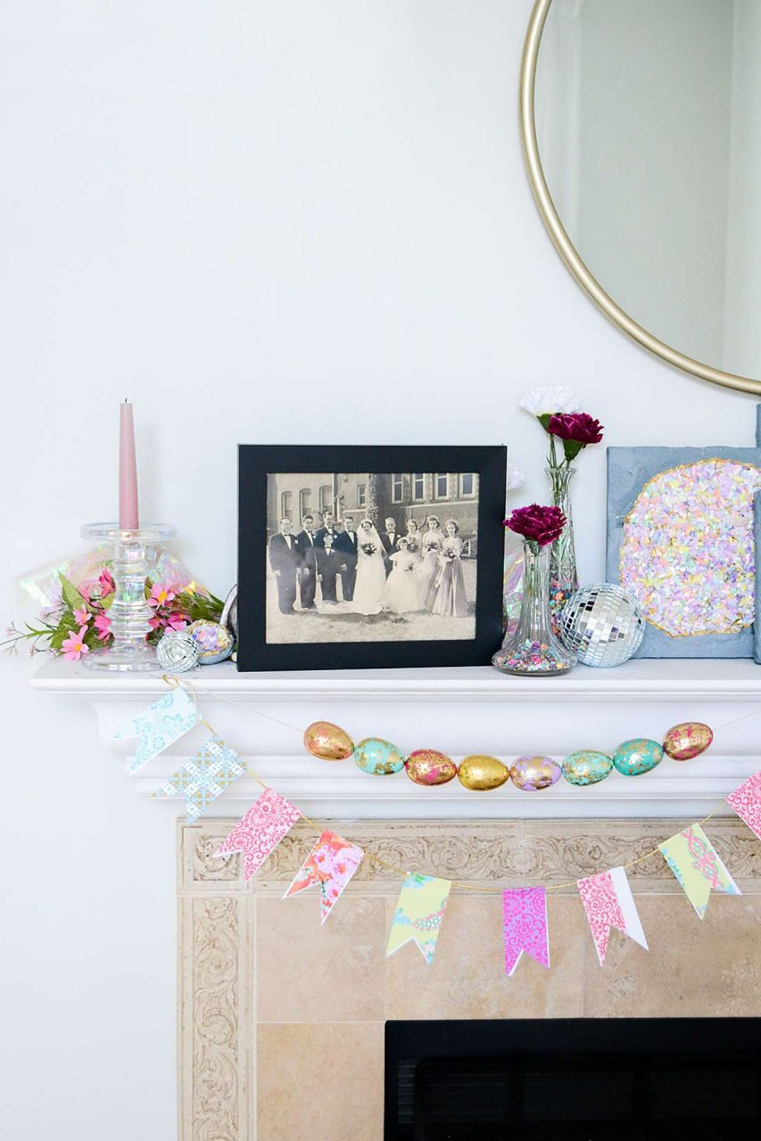Festive mantle with framed black and white photo