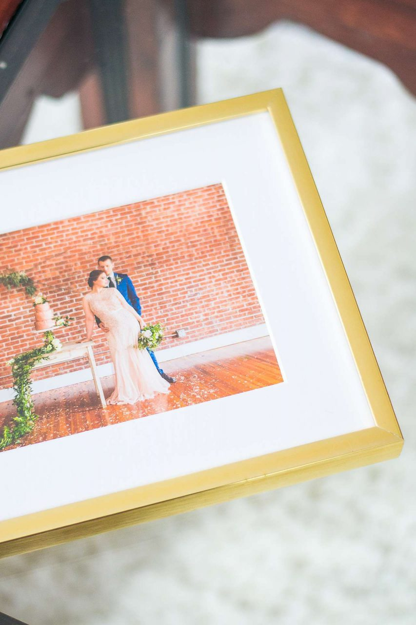 framed wedding portrait gold frame