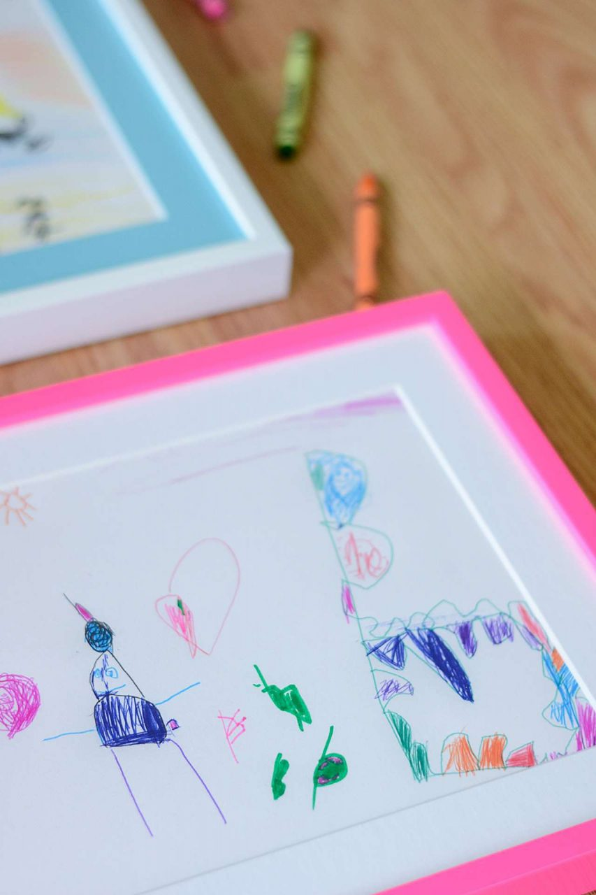 Framed kid's artwork