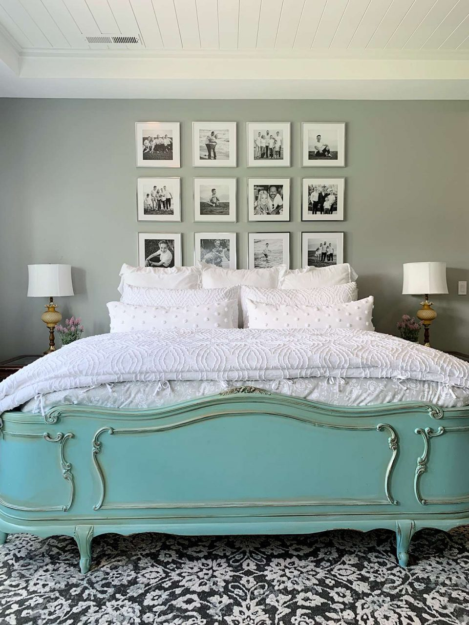 silver picture frame bedroom gallery wall