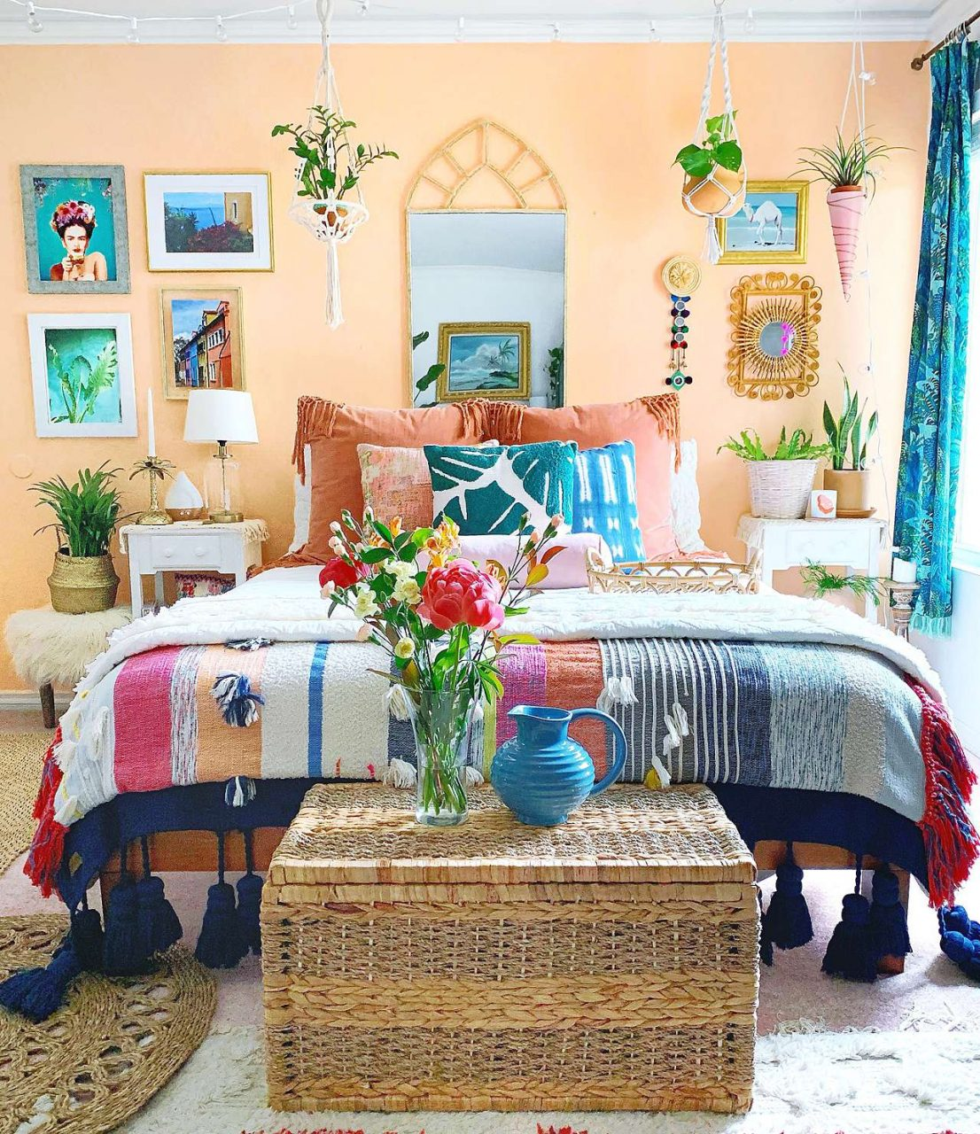 bohemian bedroom gallery wall