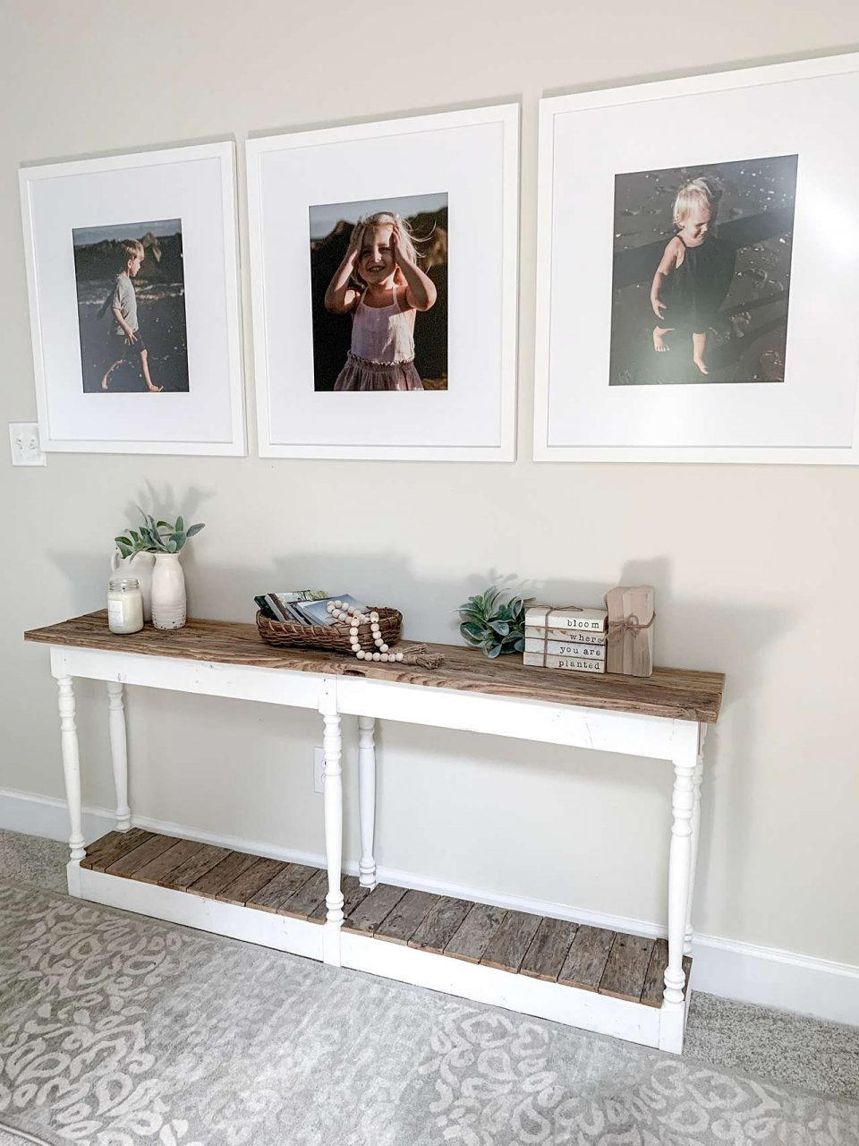 three matted white picture frames