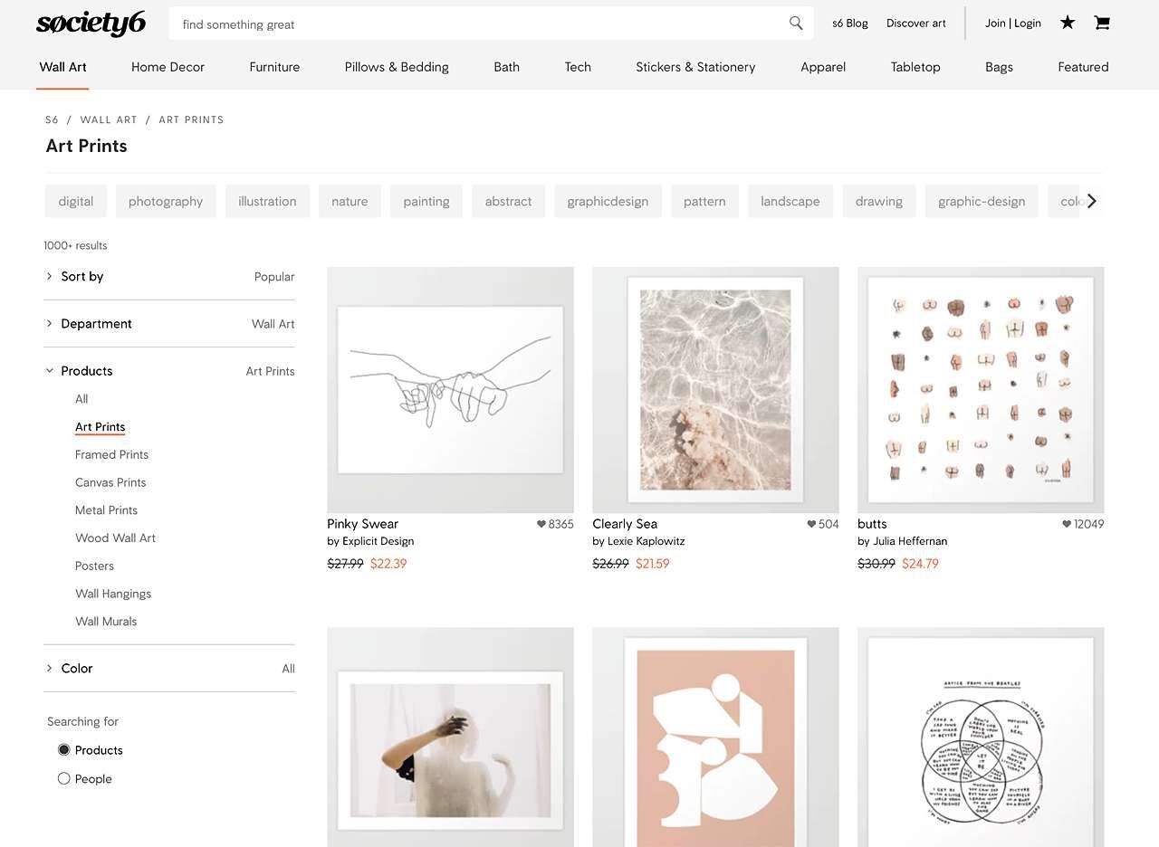 Find art online at Society6