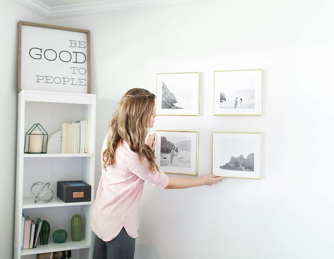 Gold picture frame gallery wall
