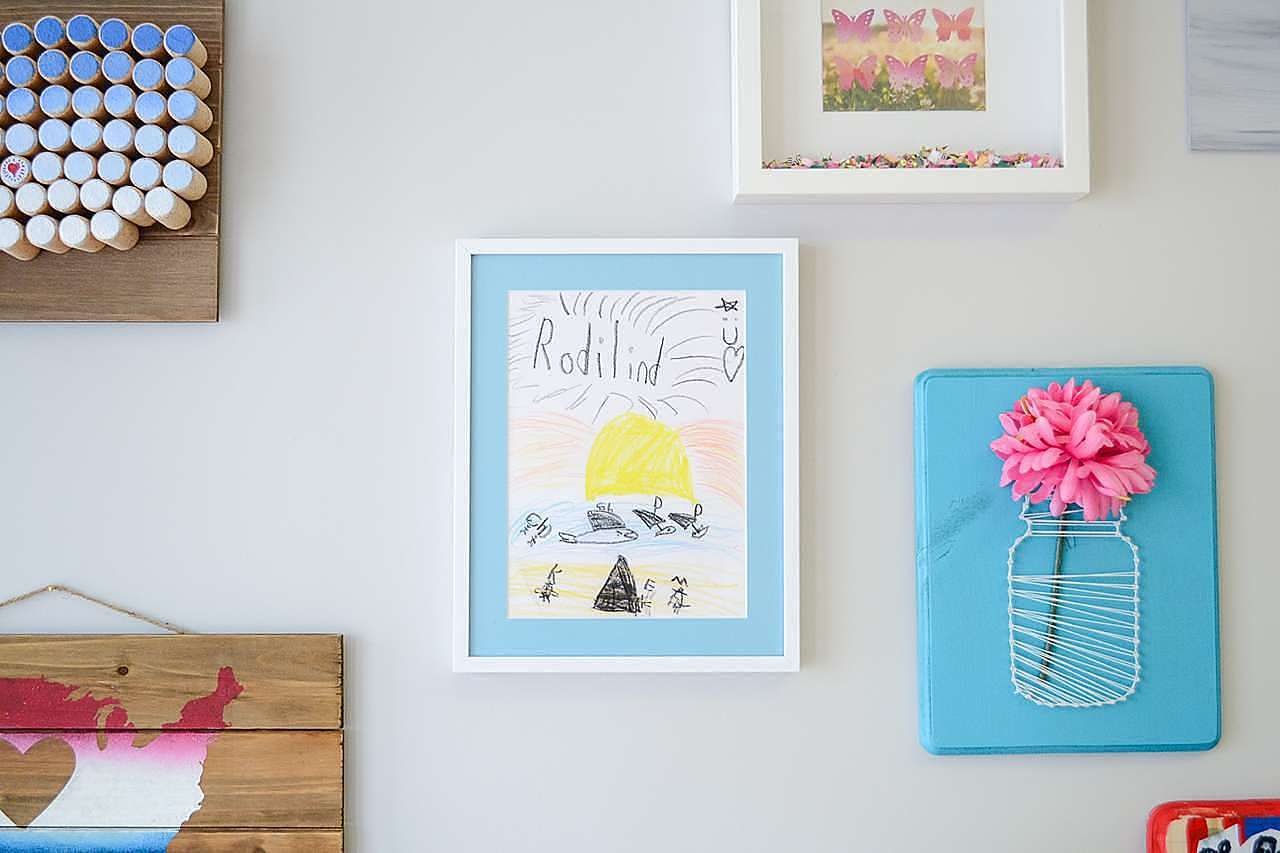 white picture frame blue mat