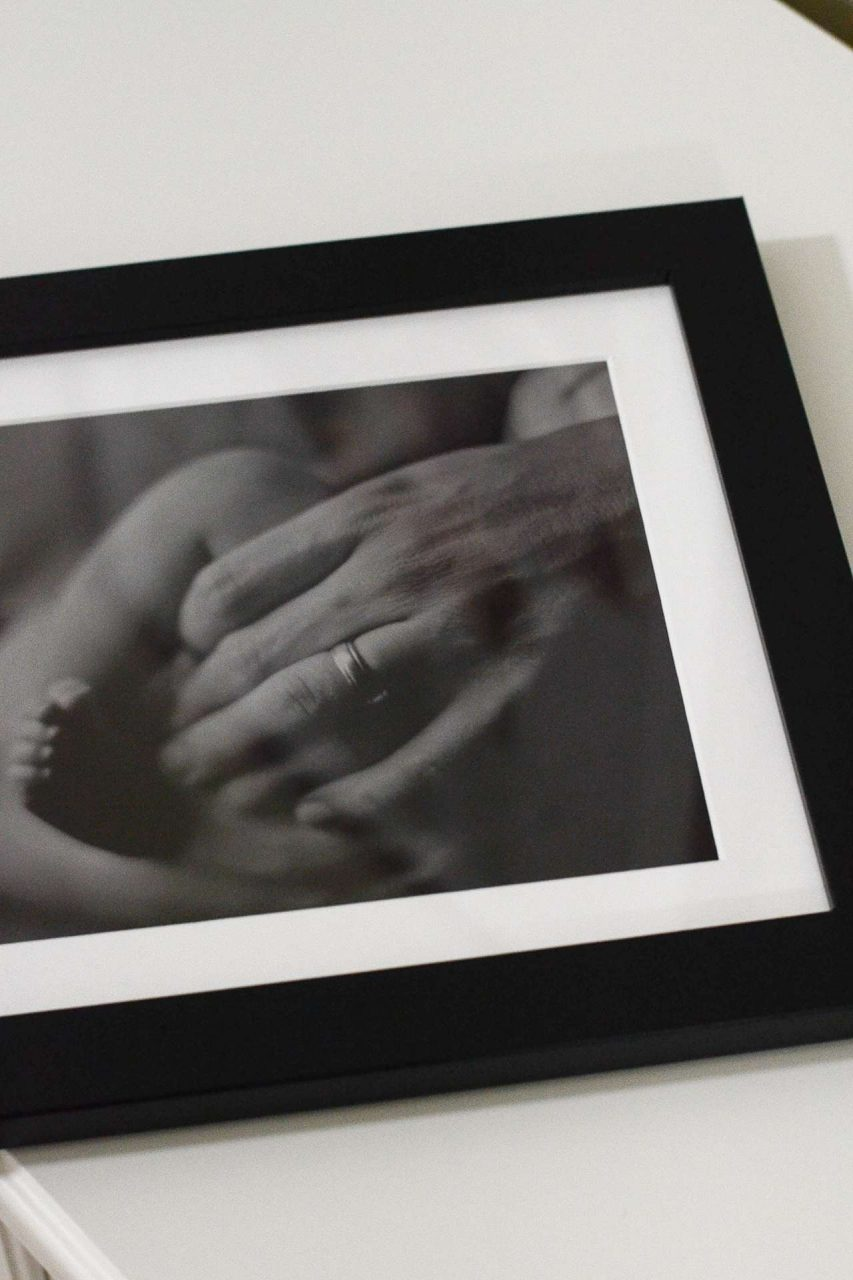 Father's Day Gift Idea - Father and child hands - black frame with white matting