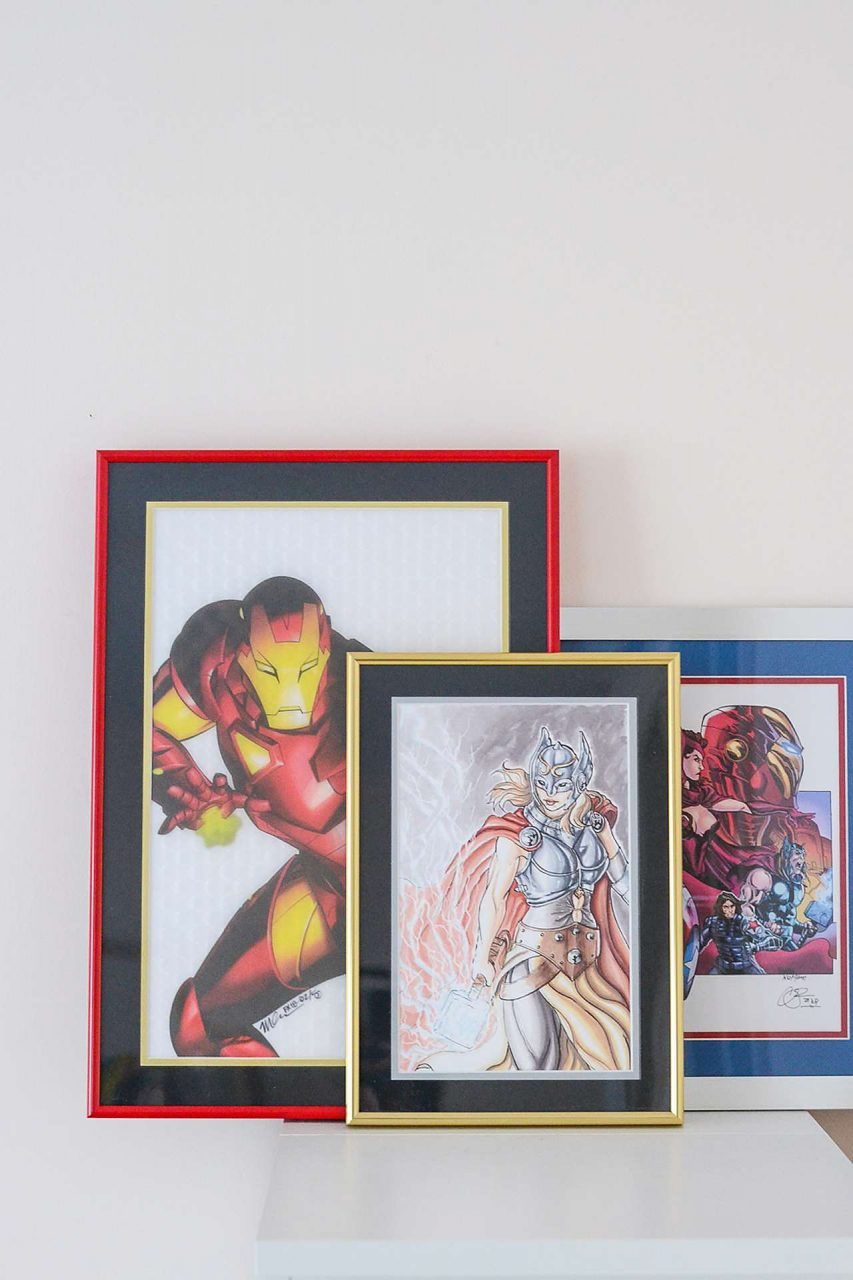 Father's Day Gift Idea - Comic Art - Red, Gold, and White Frames