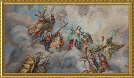 classical painting in gold ornate frame