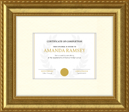 diploma award in ornate frame