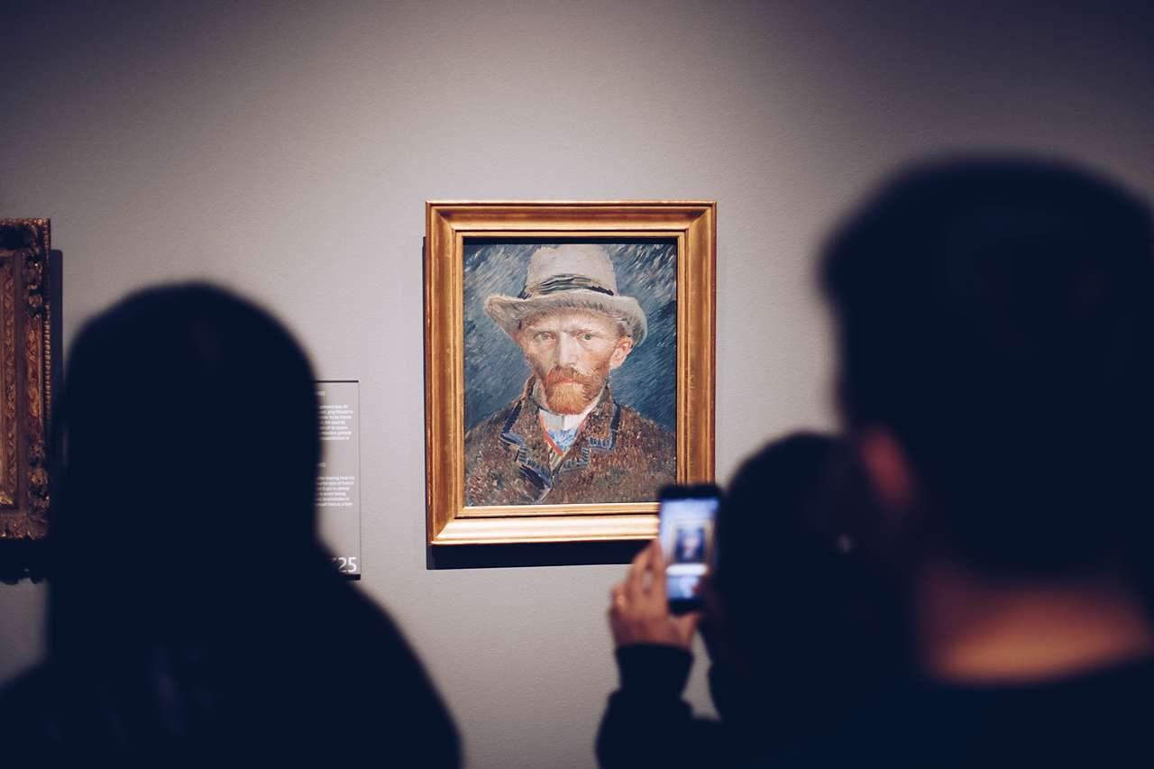 Van Gogh painting in ornate gold frame