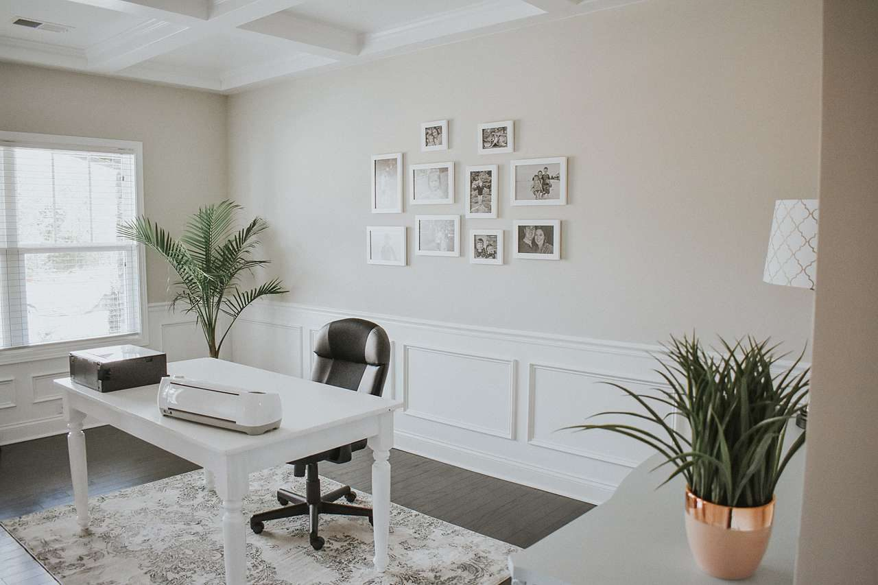 Minimalist white frame gallery wall