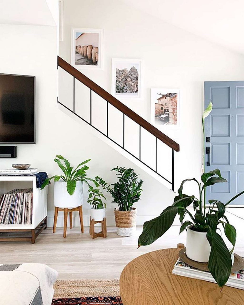 Triple picture frames on stairs