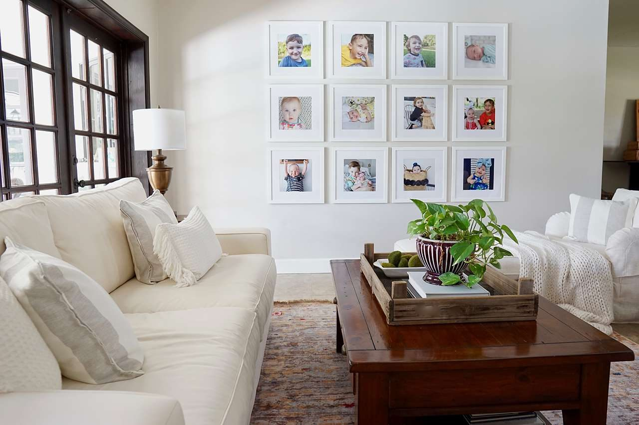White picture frame gallery wall in white living room