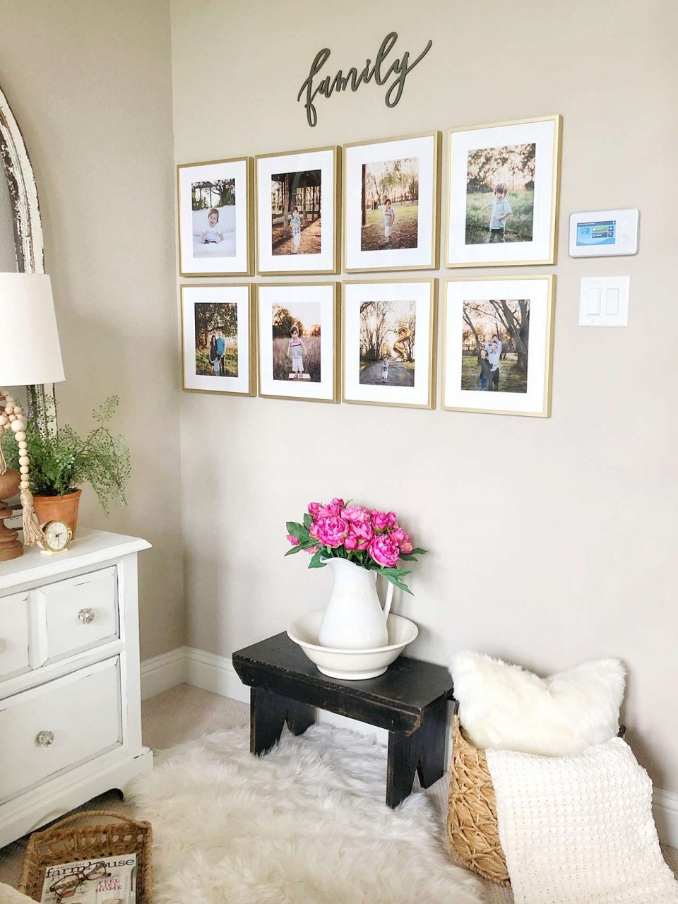 Family picture frame gallery wall