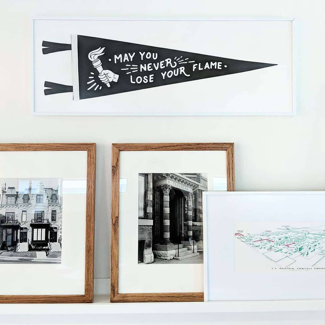 """framed pennant banner, """"May you never lose your flame"""""""