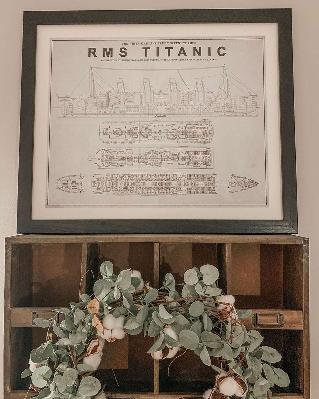 framed architectural drawing of RMS Titanic