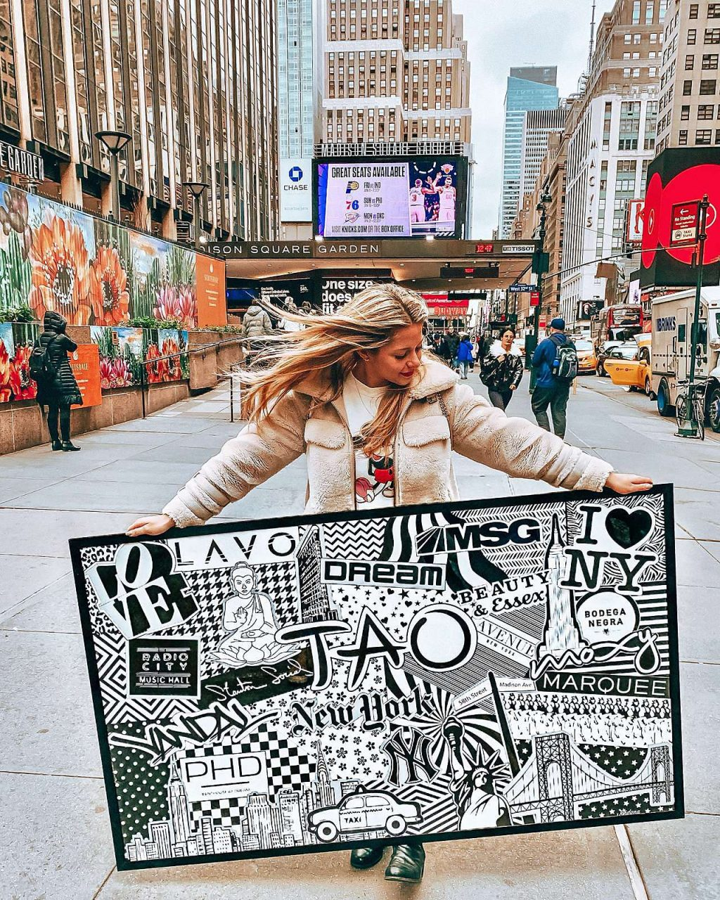 Black and white NYC art in large black picture frame in New York City