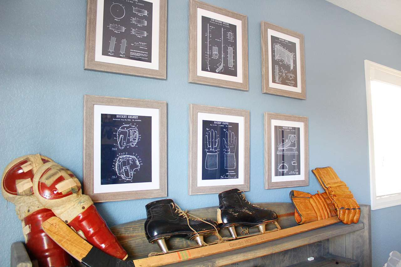 framed sports technical drawings