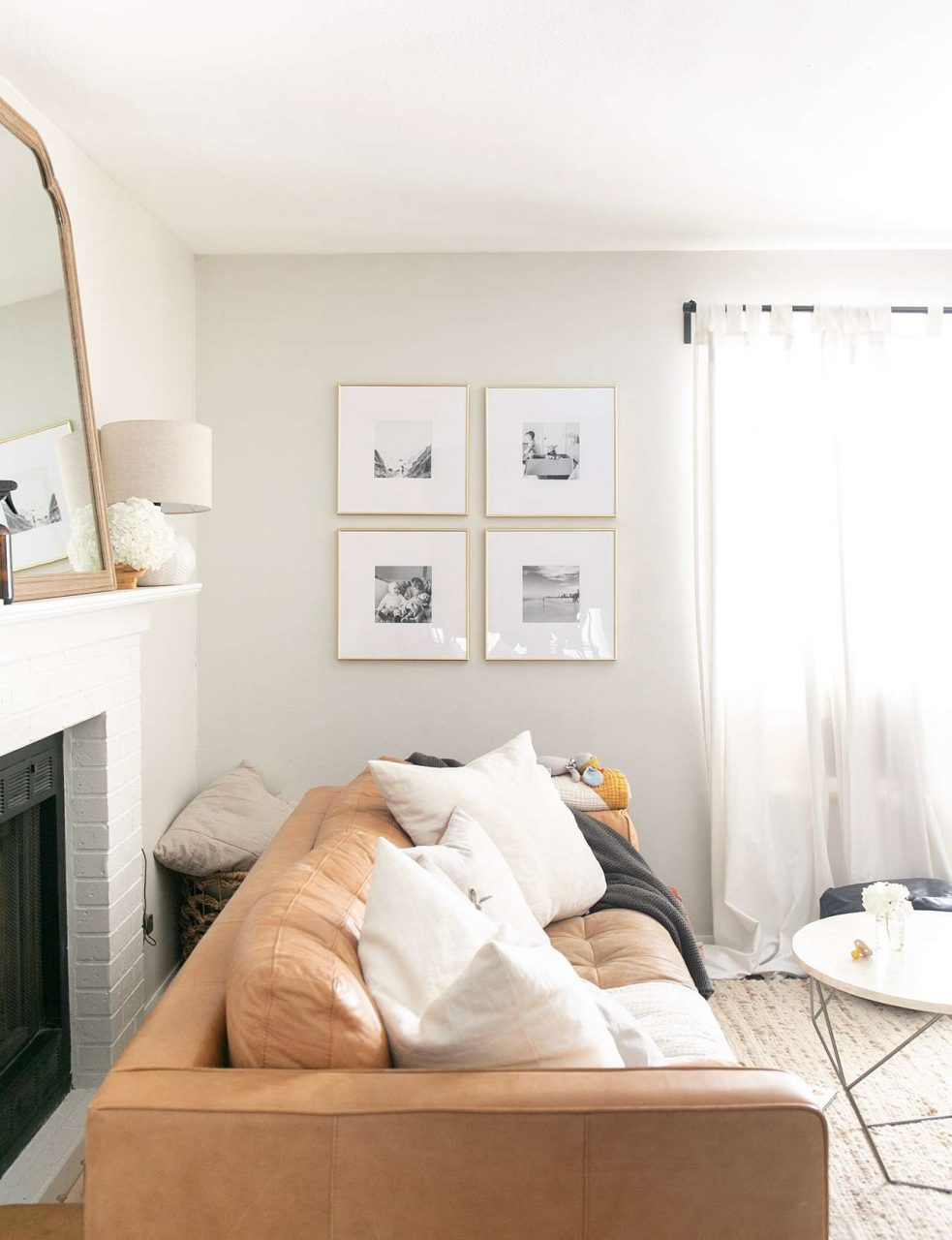 four picture frame gallery in living room