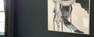 gold frame with bold artwork