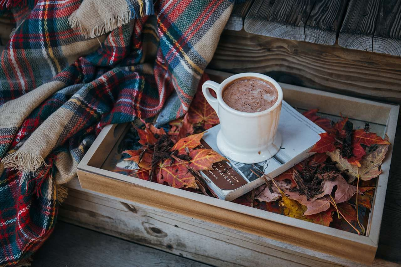plaid blanket with fall drink