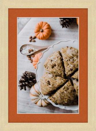 Fall art print - pumpkin scones - Derby frame In Wheat with tangerine matting