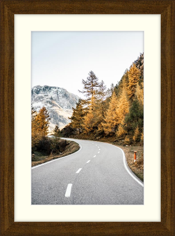 Fall art print - autumn road - Dayton in Cocoa with Cloud Matting