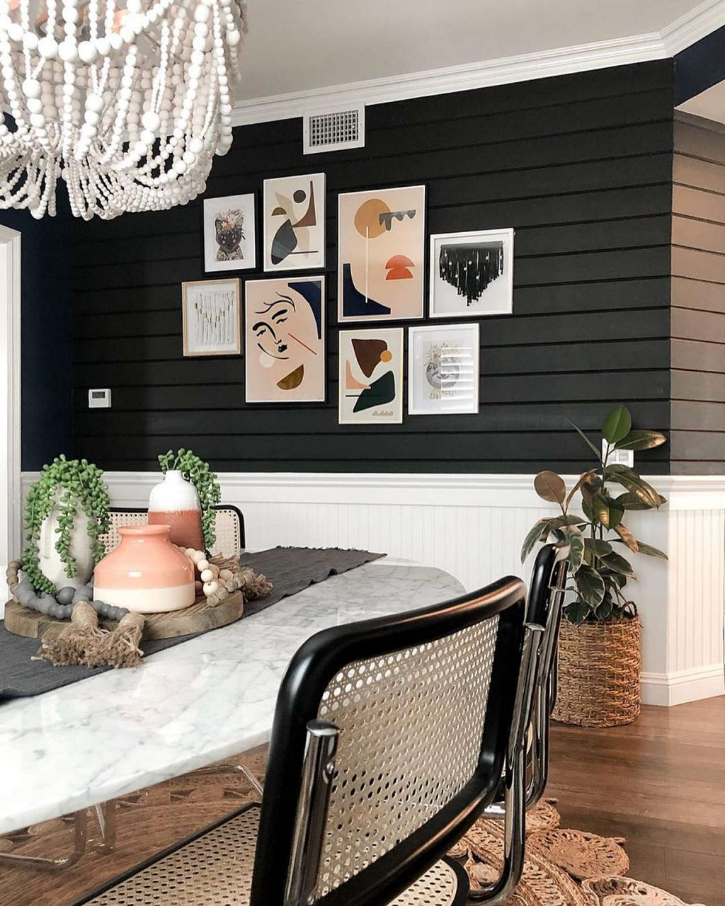 picture frame gallery on dark wall