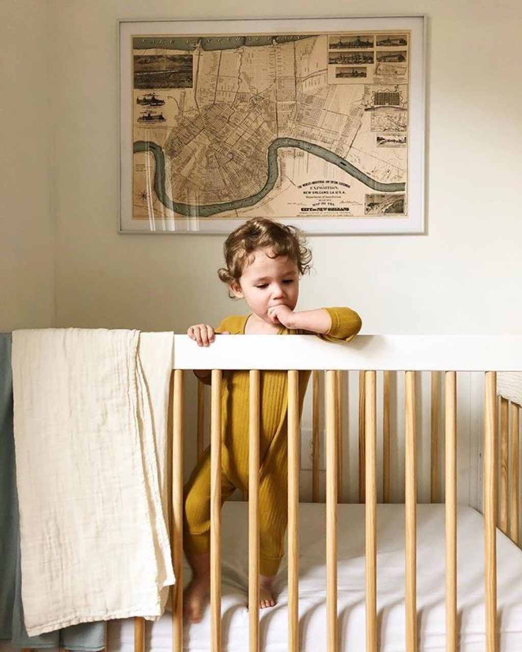 Baby in crib large picture frame