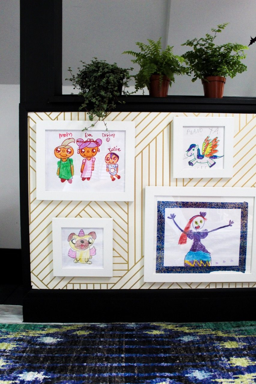 Framed children's drawings