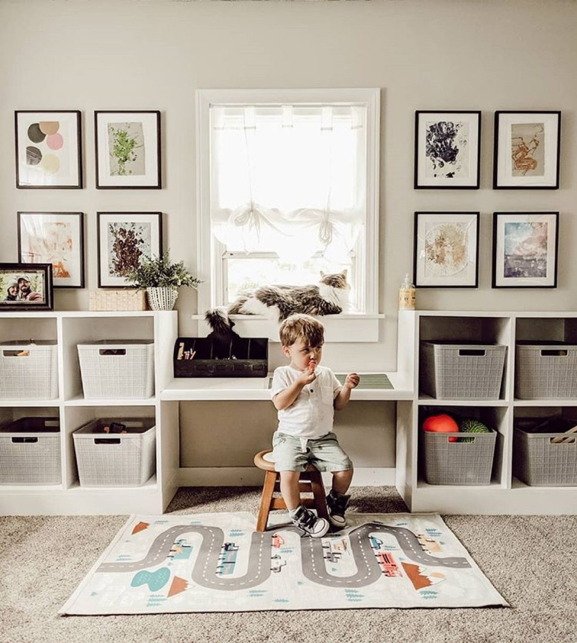 Child sitting in bedroom