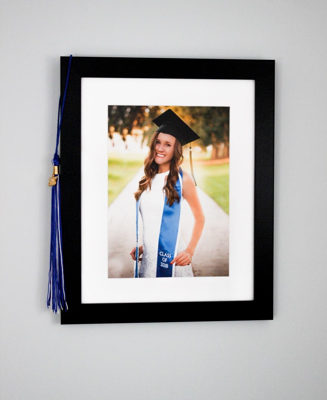 Graduation picture on wall