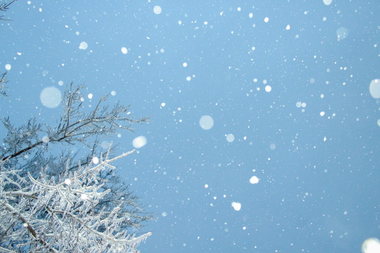 Snow falling from sky.