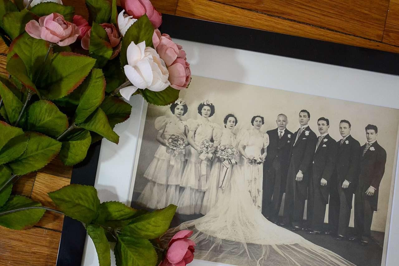 framed vintage wedding photo