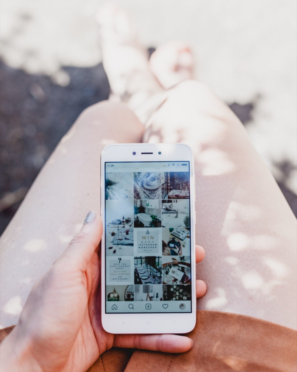 Instagram feed with theme of white