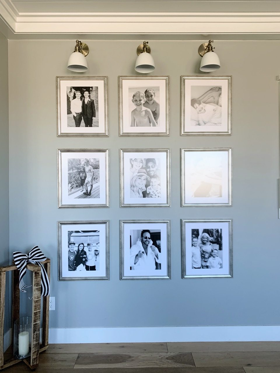 gallery wall with black and white pictures