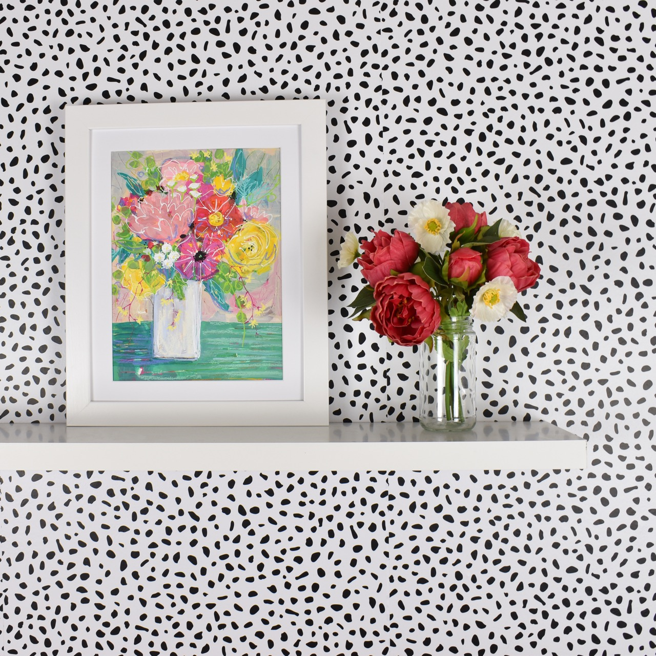 vibrant wall with picture frame