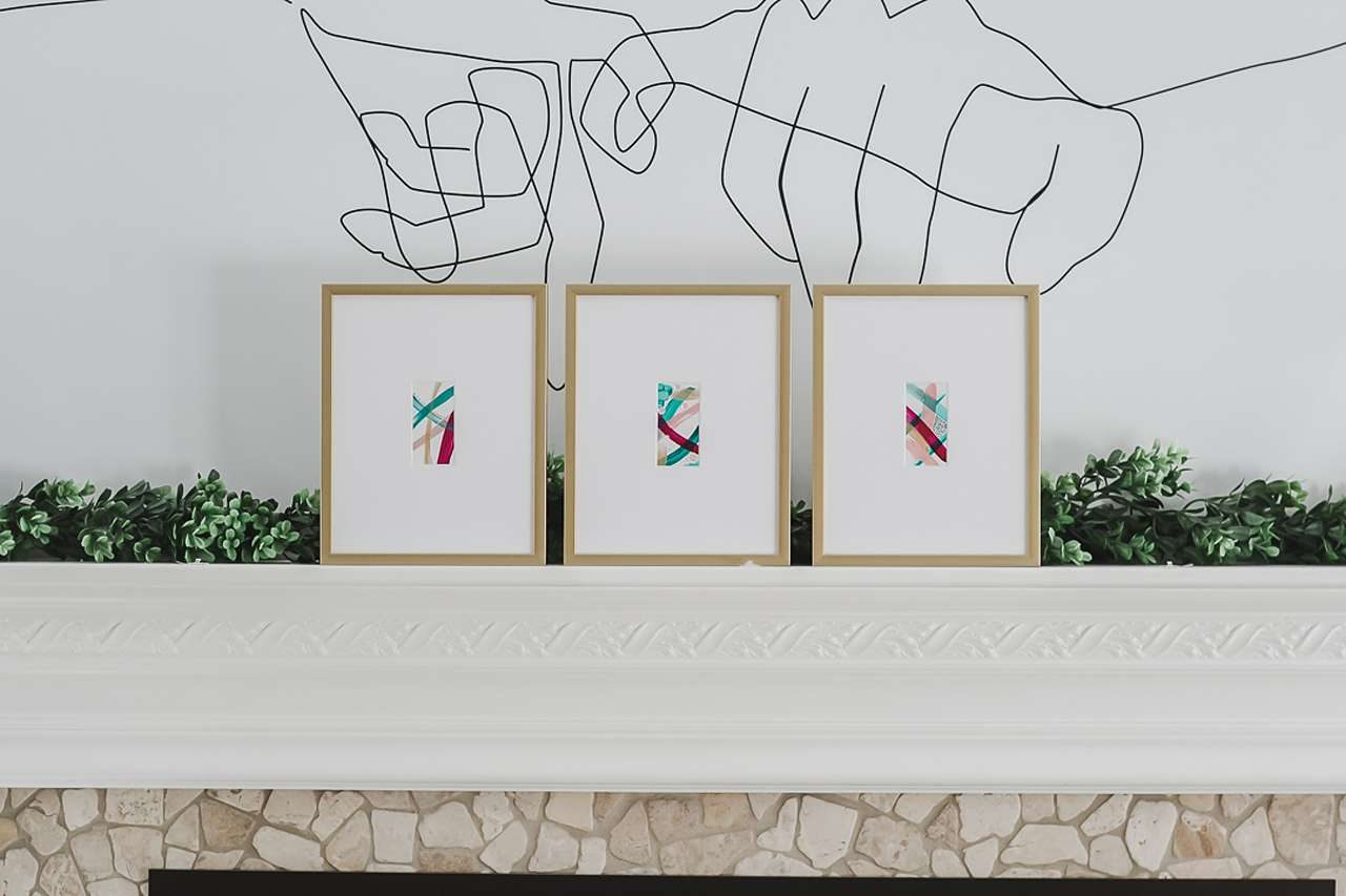 three frames on mantel