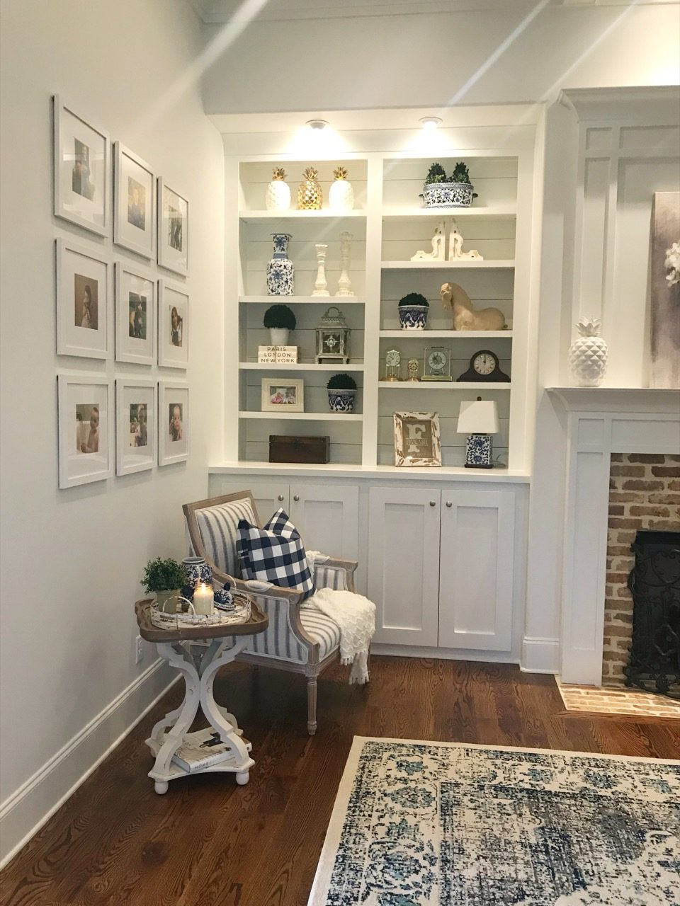 3x3 gallery wall in living room