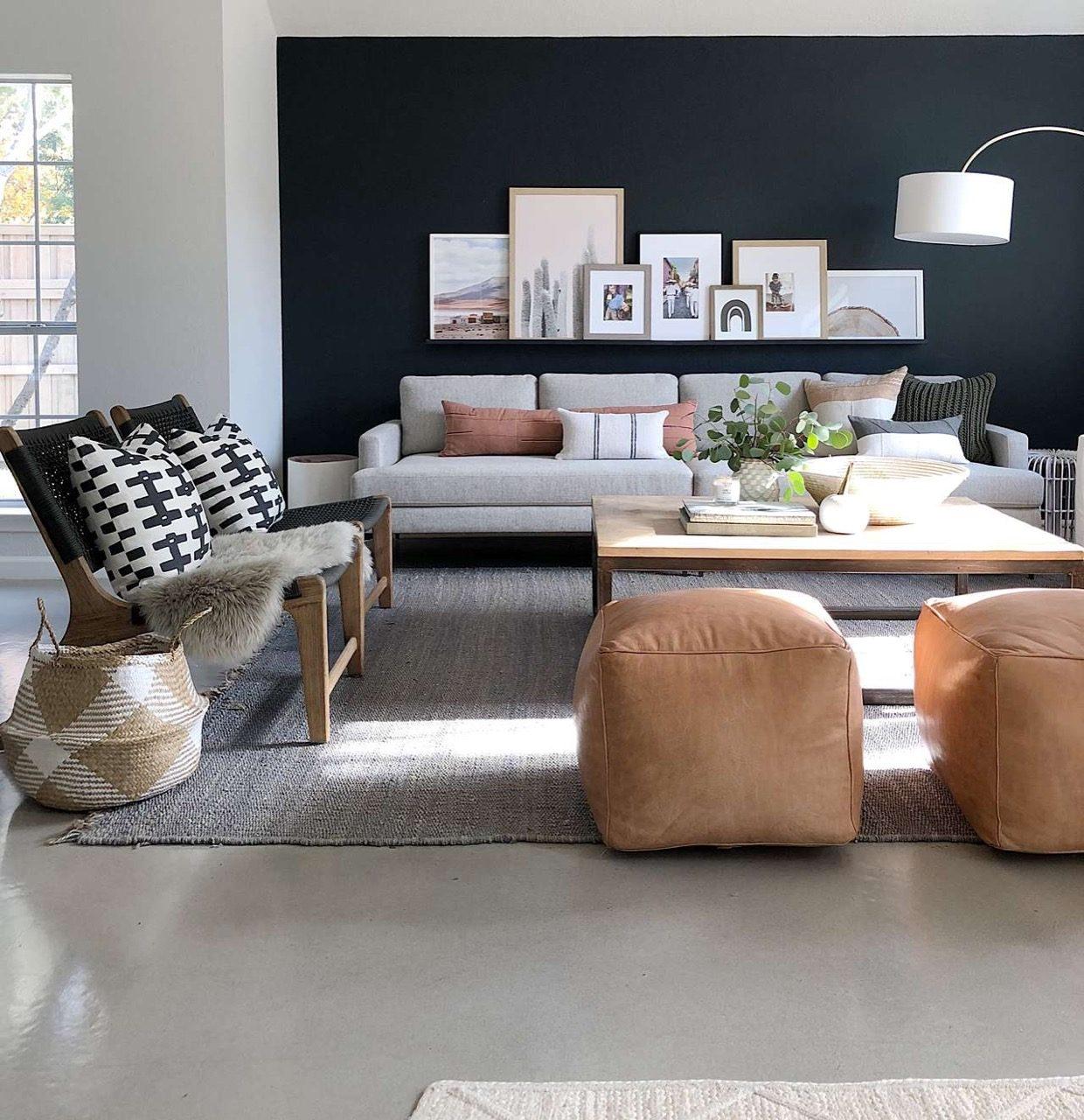 Living room decor for dark wall