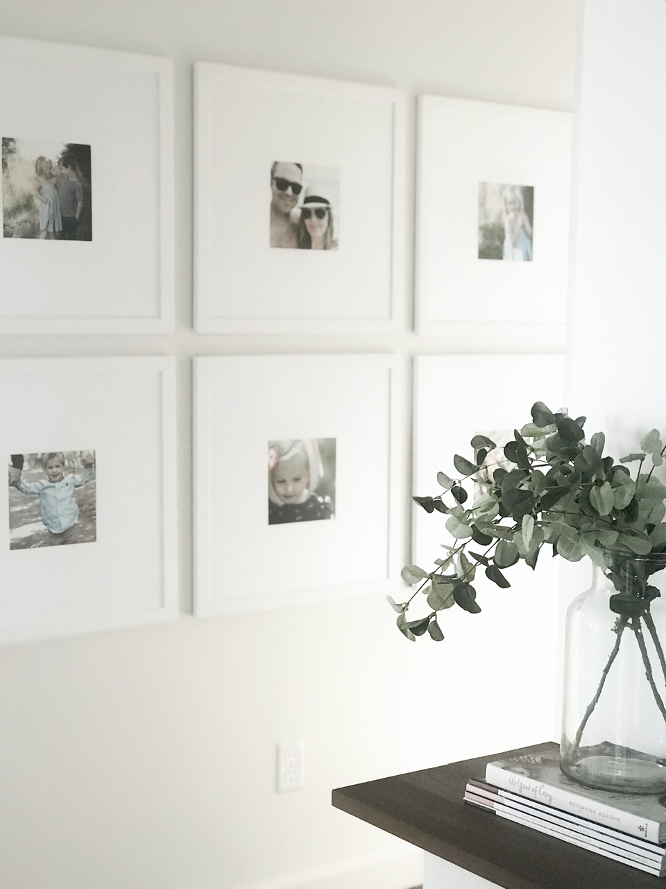 gallery wall with large matting