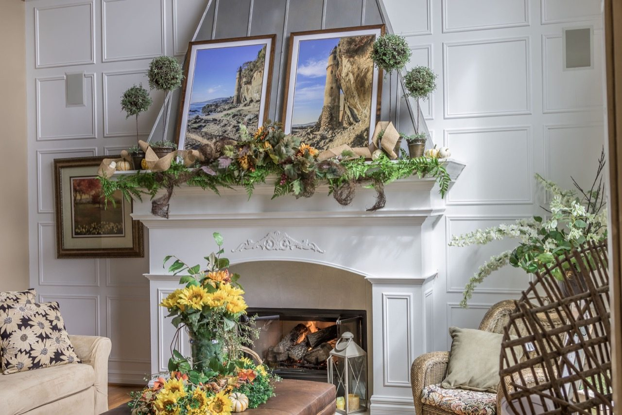 Pictures on fireplace mantel